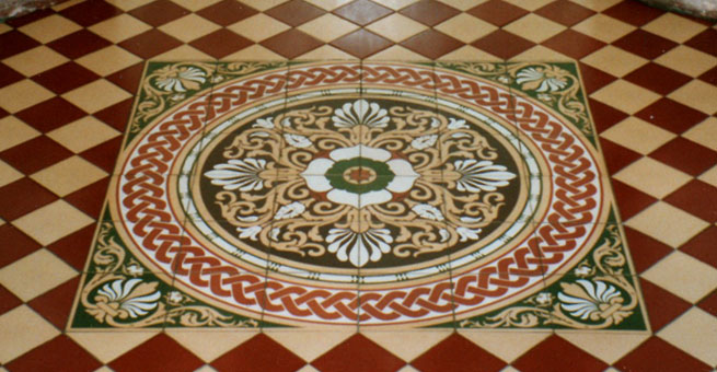 Victorian reproduction encaustic tile pattern